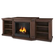 Real Flame Valmont TV Stand with Gel Fireplace; Chestnut Oak