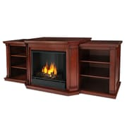 Real Flame Valmont TV Stand with Gel Fireplace; Dark Mahogany