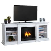 Real Flame Fresno TV Stand with Gel Fuel Fireplace; White