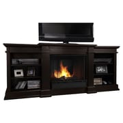 Real Flame Fresno TV Stand with Gel Fuel Fireplace; Dark Walnut