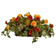 Floral Home Decor Silk Ledge Planter with Roses and Ivy