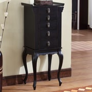 Wildon Home   Nang Jewelry Armoire with Mirror; Black