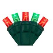 Wintergreen Lighting 70 5mm LED Christmas Lights; Red/Green
