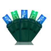 Wintergreen Lighting 70 5mm LED Christmas Lights; Blue/Green