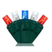 Wintergreen Lighting 70 5mm LED Christmas Lights; Blue/Red/Cool White
