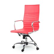 Winport Industries High-Back Leather Swivel Executive Chair; Red