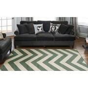 Diagona Designs Queen Teal/Ivory Chevron Area Rug; 7'10'' x 9'10''