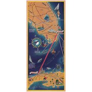 Marmont Hill Havana Map Vertical Pan Am Vintage Aviation Print on Canvas; 45'' H x 22.5'' W