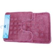Tache Home Fashion 2 Piece Super Absorbent Solid Rug Set; Pink