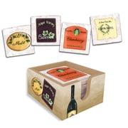 Lexington Studios 4 Piece Wine Labels Coasters with Caddy