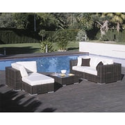 Hospitality Rattan Soho 5 Piece Deep Seating Sectional with Cushions; Canvas Natural