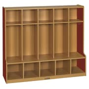 ECR4Kids Colorful Essentials  1 Tier 5-Section Coat Locker; Red