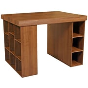 Venture Horizon Project Center Writing Desk with Bookcase and 3 Bin Cabinet; Oak
