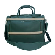 Piel Traveler 17'' Leather Carry-On Duffel; Dark Green w/ Sand Trim - CLOSEOUT!