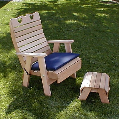Creekvine Designs Cedar Country Hearts Patio Chair and Footrest Set; White Stain