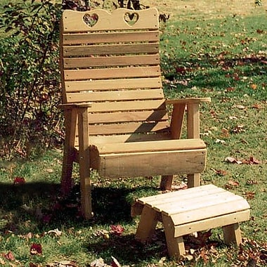 Creekvine Designs Cedar Country Hearts Patio Chair and Footrest Set; No Finish