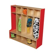 Wood Designs 1 Tier 5-Section Seat Locker; Strawberry Red