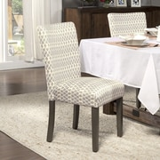 HomePop Traditional Parsons Chair (Set of 2); Fabric - Gray Diamond