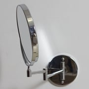 American Imaginations Round Magnifying Makeup Wall Mirror; Stainless Steel