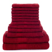 Lavish Home 12 Piece 100% Cotton Towel Set - Burgundy