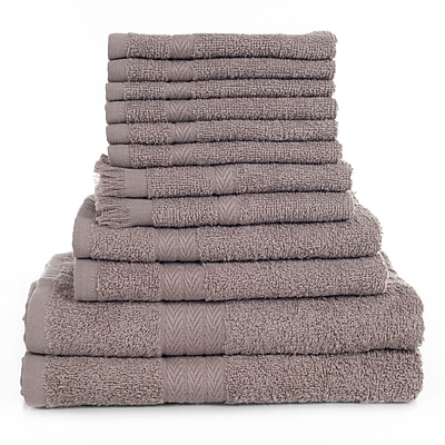 Lavish Home 12 Piece 100% Cotton Towel Set - Taupe