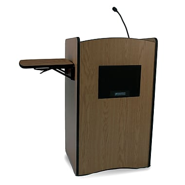 AmpliVox Sound Systems Multimedia Sound Lectern, Walnut (SS3230-WT)