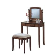 Monarch Specialties Two-Piece solid-Top Chenille Vanity Set, Walnut and Beige (I 1583)