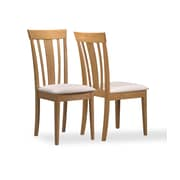 Monarch Specialties 2-Piece Dining Chair, Maple with Fabric Seats (I 4358)