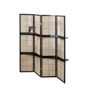 Monarch Specialties 4-Panel Folding screen with 2 Display shelves, Cappucino (I 4624)