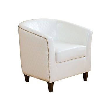 Home Loft Concepts Alford Bonded Leather Quilted Barrel Chair; Ivory