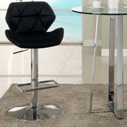 Chintaly Pneumatic Gas Adjustable Height Swivel Bar Stool with Cushion; Black