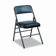 Cosco Deluxe Vinyl Padded Series Low-Back Folding Office Chairs (Set of 4); Black