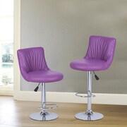 AdecoTrading Adjustable Height Swivel Bar Stool with Cushion (Set of 2); Purple