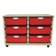 Storsystem 6 Tray Wide Wood Cabinet; Red
