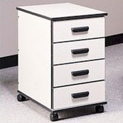 Fleetwood Solutions 4-Drawer Mobile File Cabinet; Light Oak/Light Oak/Black