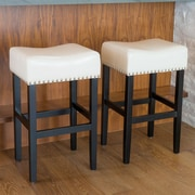 Home Loft Concepts Lisette 30.31'' Bar Stool with Cushion (Set of 2); Ivory