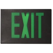 Morris Products Cast Aluminum Extra Face Plate LED Exit Sign with Green Lettering and Black Face