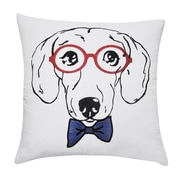 Loom and Mill Dachshund Decorative Cotton Throw Pillow; White