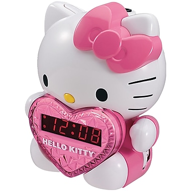 Hello Kitty® KT2064 AM/FM Projection Alarm Clock Radio With Battery Back-up, Pink/White