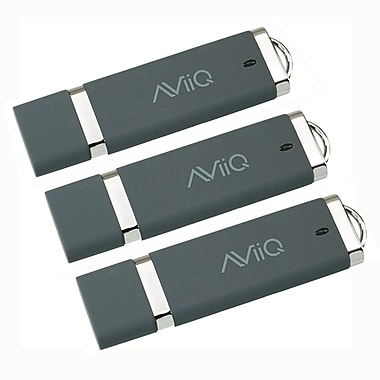 AViiQ 32GB USB 2.0 Flash Drive, Grey, 3/Pack
