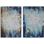 My Art Outlet 'Through Blues to Light' 2 Piece Original Painting on Wrapped Canvas Set