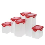 Lock & Lock 12-Piece Tall Storage Set with Lid; Red