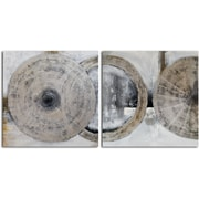 Omax Decor 'Cymbals' 2 Piece Painting on Canvas Set in Silver