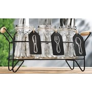 Home Essentials and Beyond 4 Pieces Star Mason Jar Set with Flatware Caddy