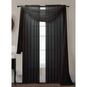 Window Elements Diamond Curtain Sheer Single Panel Scarf; Black