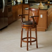 Home Loft Concepts Jennings 30.5'' Swivel Bar Stool with Cushion; Brown