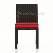Forever Patio Barbados Dining Side Chair with Cushion; Flagship Ruby / Canvas Bay Brown Welt