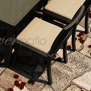 Forever Patio Barbados Dining Side Chair with Cushion; Spectrum Mushroom / Spectrum Sand Welt