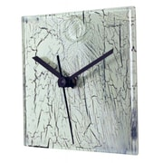 River City Clocks Square Glass Wall Clock with Crackle Effect