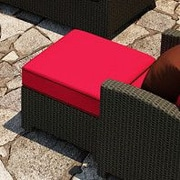 Forever Patio Barbados Ottoman with Cushion; Flagship Ruby / Canvas Bay Brown Welt